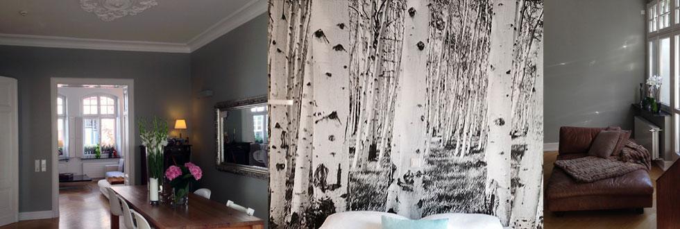 Graue Wandfarbe Und Tapete In Birkenoptik
